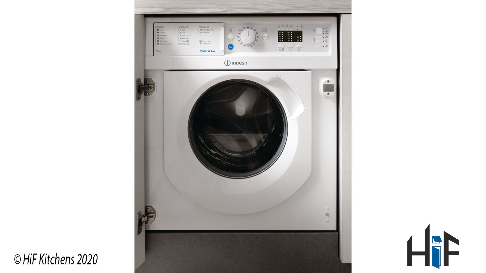 Indesit Integrated Washer Dryer Ecotime BI WDIL 7125 UK supplied by HiF Kitchens