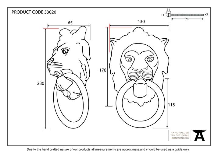 Polished Brass Lion Head Knocker Image 2