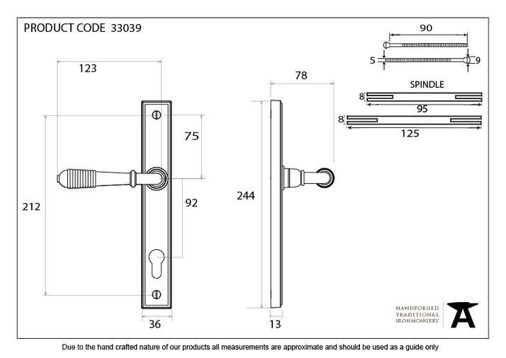 Aged Brass Reeded Slimline Lever Espag. Lock Set Image 6