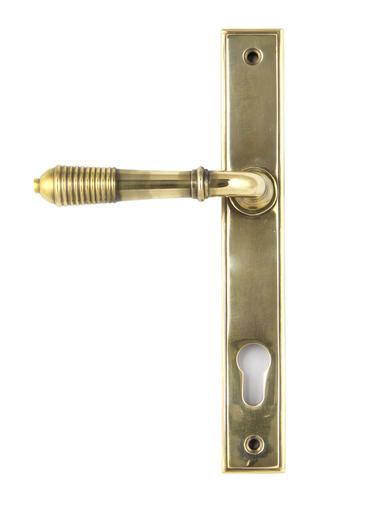 Aged Brass Reeded Slimline Lever Espag. Lock Set Image 1