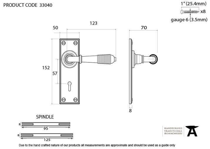 Aged Brass Reeded Lever Lock Set Image 2