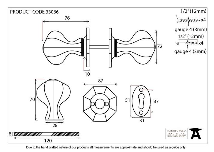 Pewter Large Octagonal Mortice/Rim Knob Set Image 6