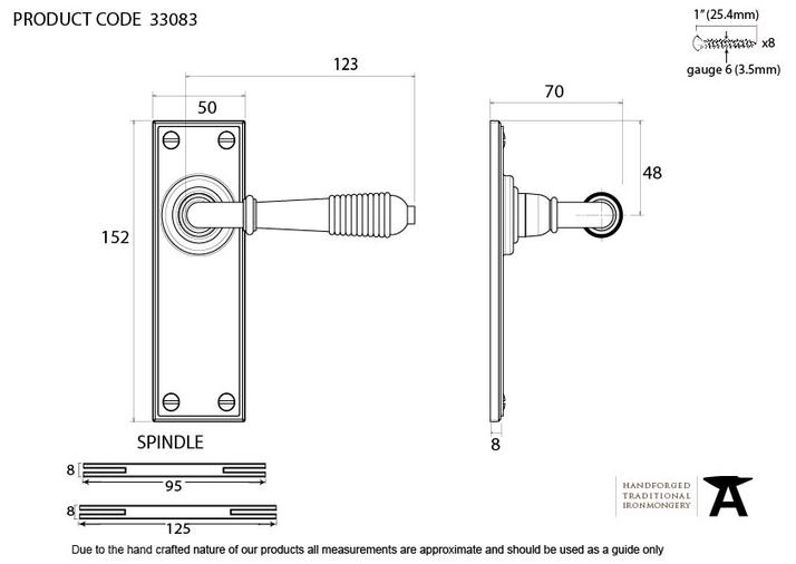 Aged Brass Reeded Lever Latch Set Image 2