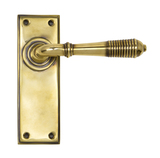 Aged Brass Reeded Lever Latch Set Image 1 Thumbnail