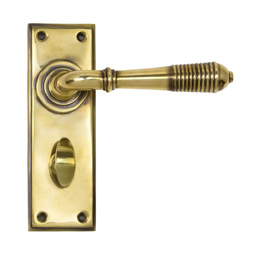 Aged Brass Reeded Lever Bathroom Set Image 1