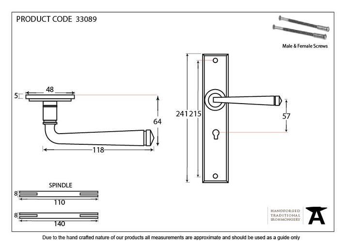 Pewter Large Avon Lever Lock Set Image 4