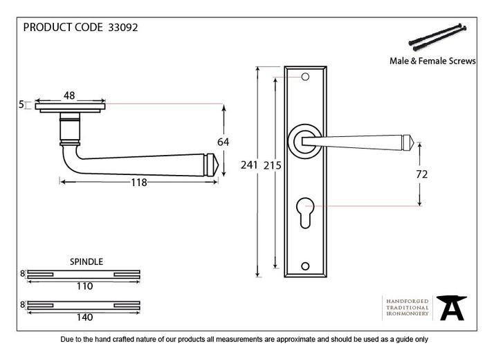 Black Large Avon 72mm Centre Euro Lock Set Image 4