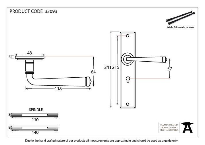 Black Large Avon Lever Lock Set Image 4