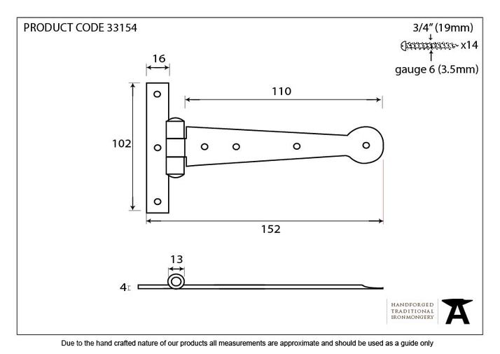 Beeswax 6'' Penny End T Hinge (pair) Image 2
