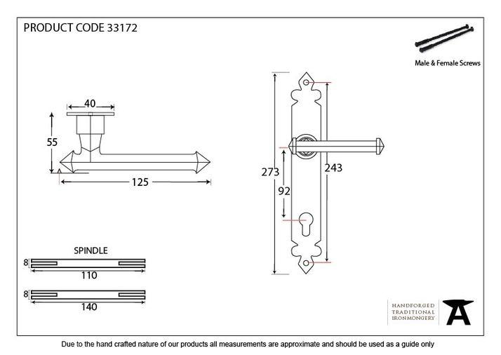 Black Tudor Lever Espag. Lock Set Image 2