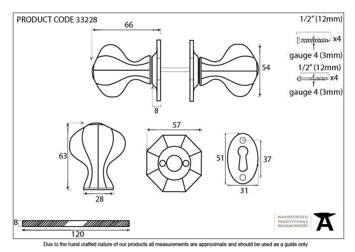 Beeswax Octagonal Mortice/Rim Knob Set Image 2