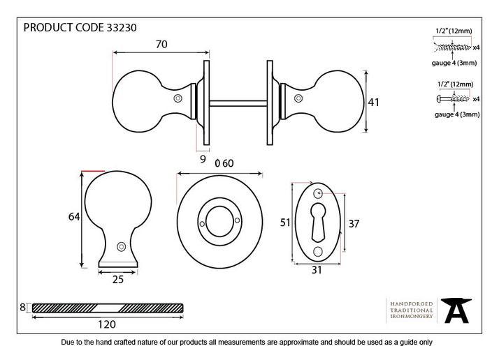 Beeswax Round Mortice/Rim Knob Set Image 4