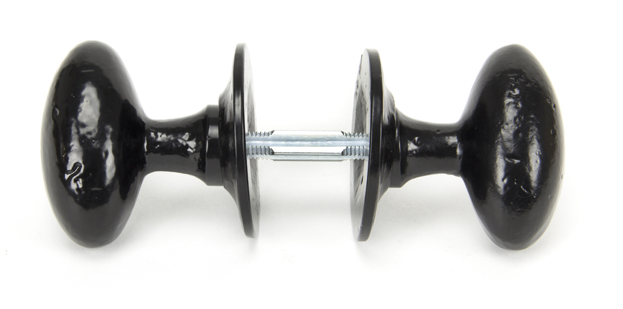 Black Oval Mortice/Rim Knob Set Image 3