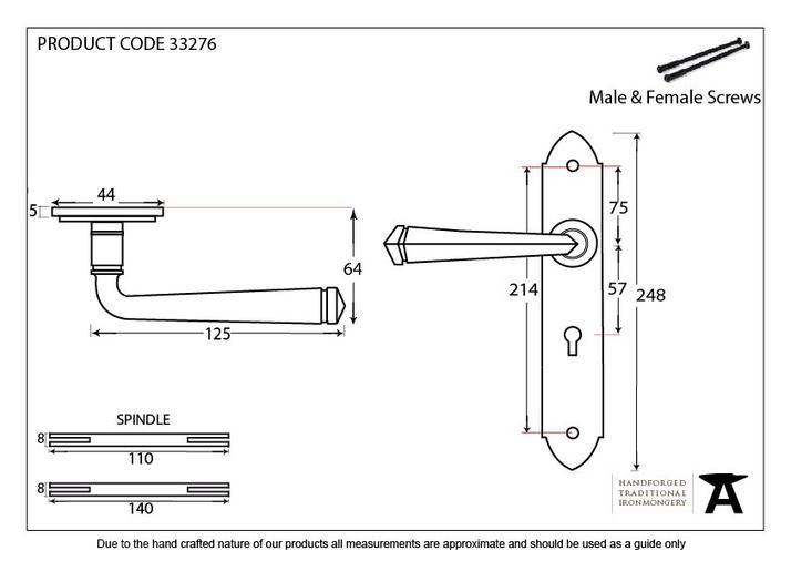 Black Gothic Lever Lock Set Image 2