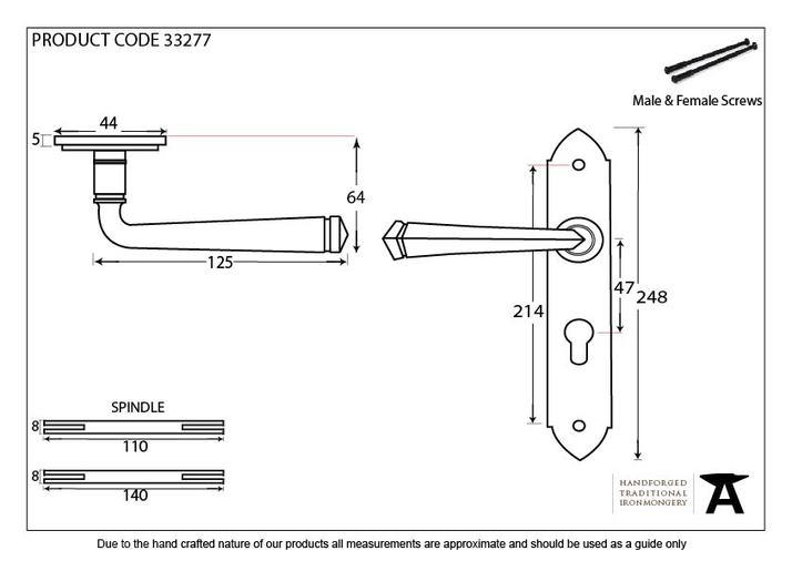 Black Gothic Lever Euro Lock Set Image 2