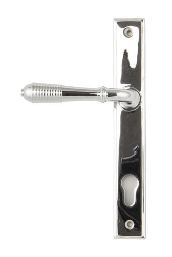 Polished Chrome Reeded Slimline Lever Espag. Lock Set Image 1