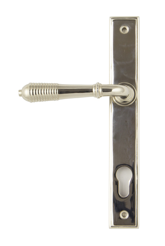 Polished Nickel Reeded Slimline Lever Espag. Lock Set Image 1