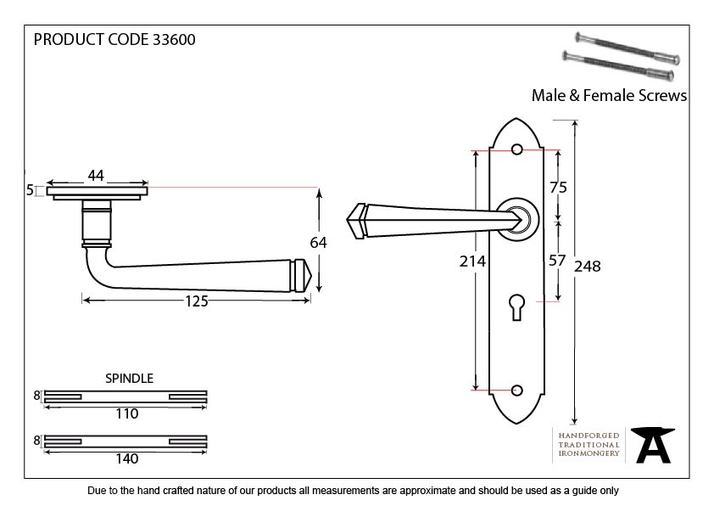Pewter Gothic Lever Lock Set Image 2