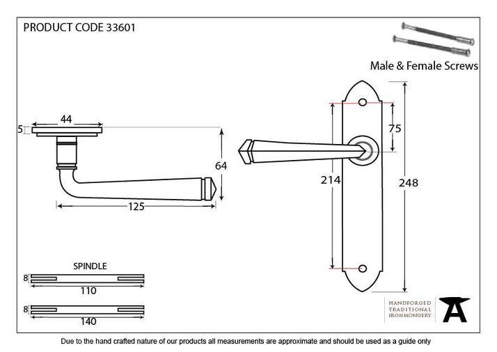 Pewter Gothic Lever Latch Set Image 2