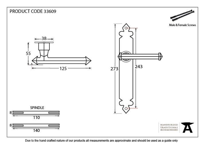 Pewter Tudor Lever Latch Set Image 2