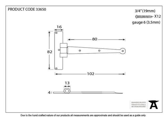 Pewter 4'' Penny End T Hinge (pair) Image 2