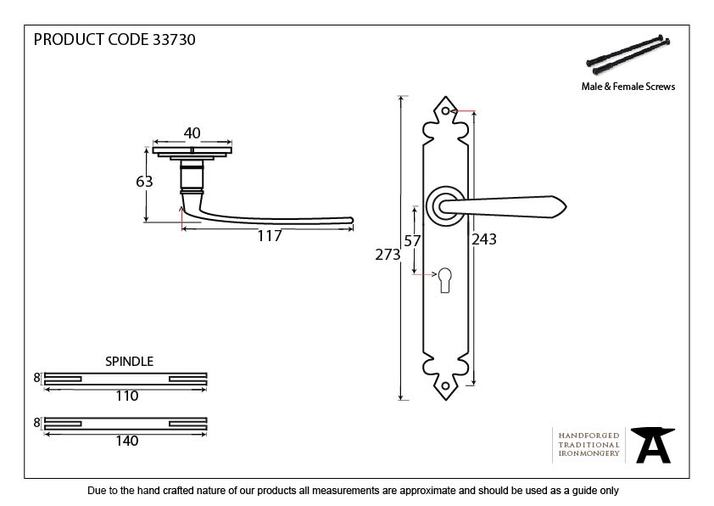 Pewter Cromwell Lever Lock Set Image 2