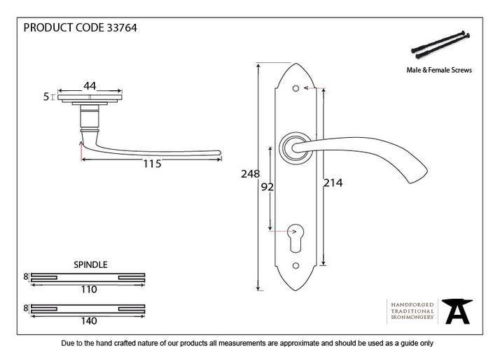 Black Gothic Curved Lever Espag. Lock Set Image 2