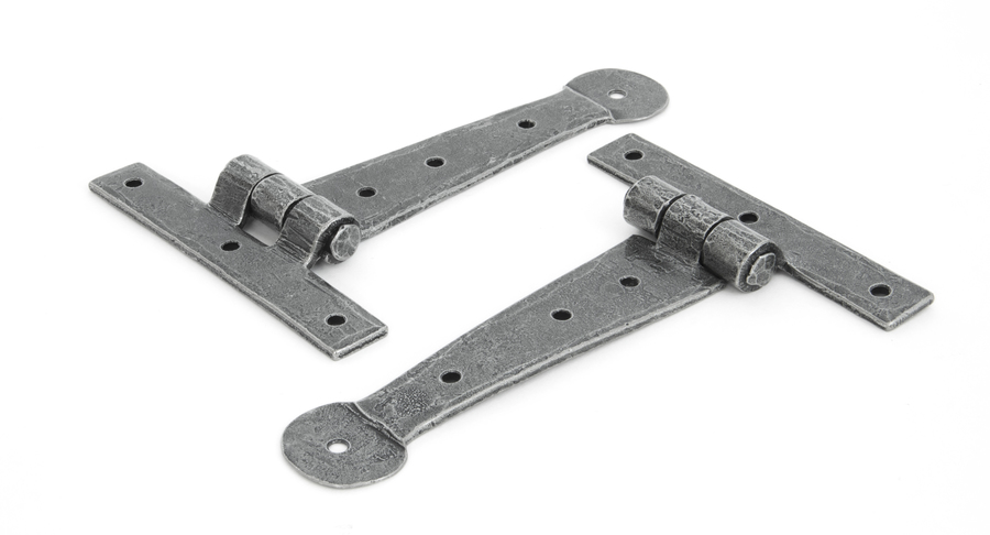 Pewter 6'' Penny End T Hinge (pair) Image 2