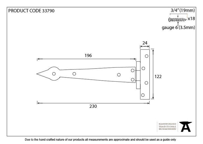 Pewter 9'' Arrow Head T Hinge (pair) Image 3