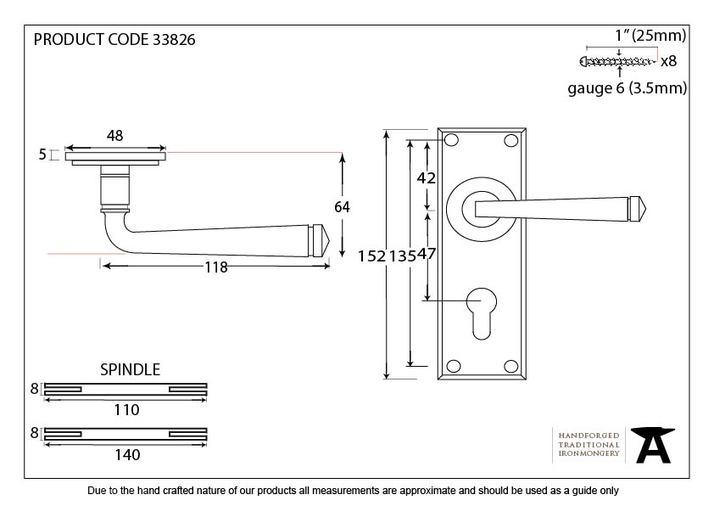 Black Avon Lever Euro Lock Set Image 2