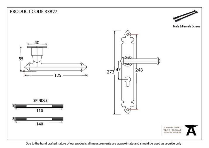 Black Tudor Lever Euro Lock Set Image 2