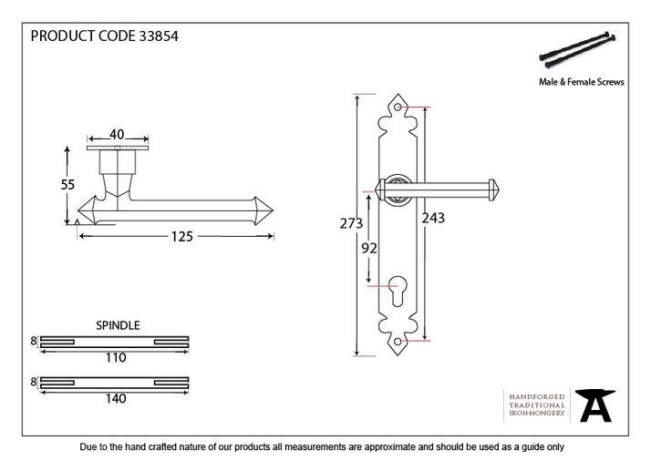 Beeswax Tudor Lever Espag. Lock Set Image 2