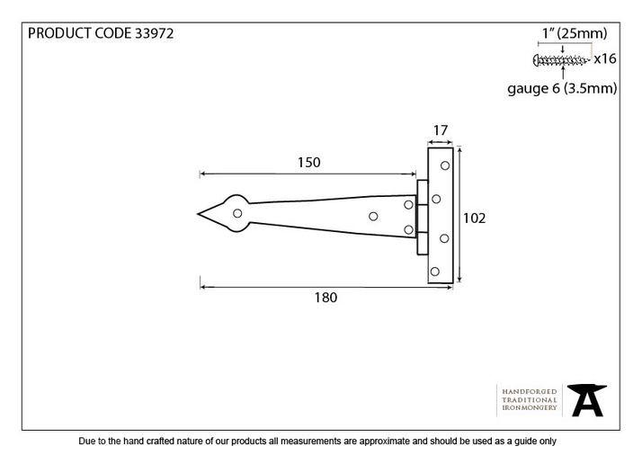 Black 6'' Arrow Head T Hinge (pair) Image 2