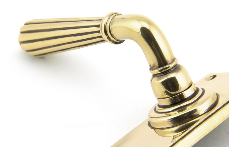 Aged Brass Hinton Lever Lock Set Image 3