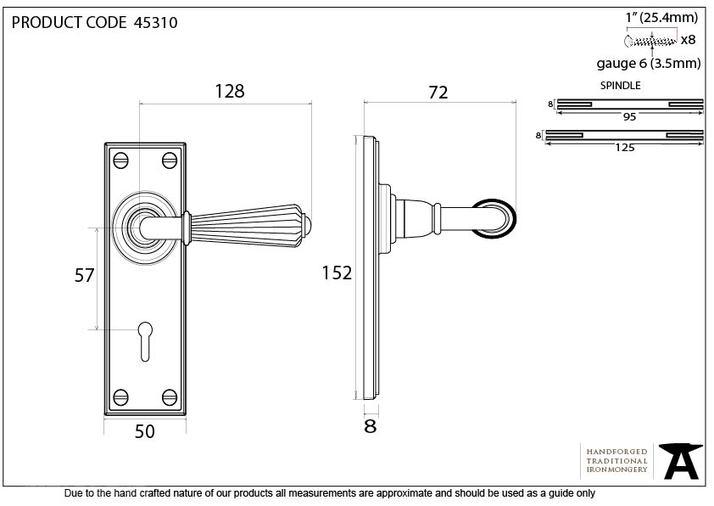 Aged Brass Hinton Lever Lock Set Image 5