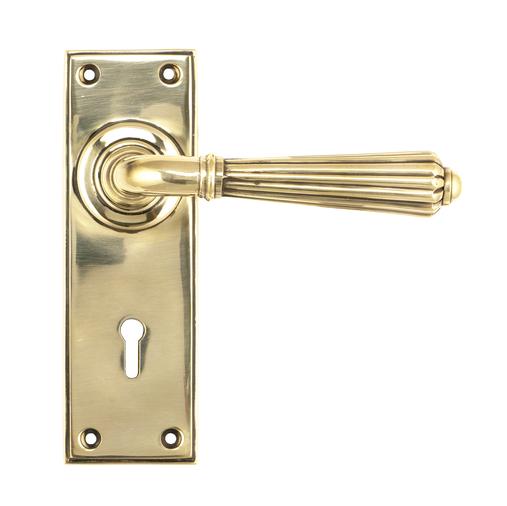 Aged Brass Hinton Lever Lock Set Image 1