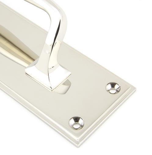 Polished Nickel 425mm Art Deco Pull Handle on Backplate Image 2