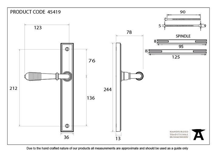 Aged Brass Reeded Slimline Lever Latch Set Image 9