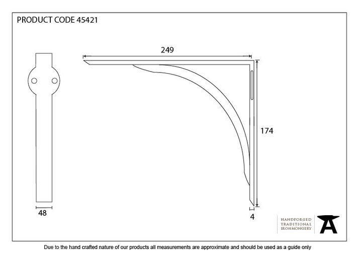 Natural Smooth 10'' x 7'' Curved Shelf Bracket Image 2