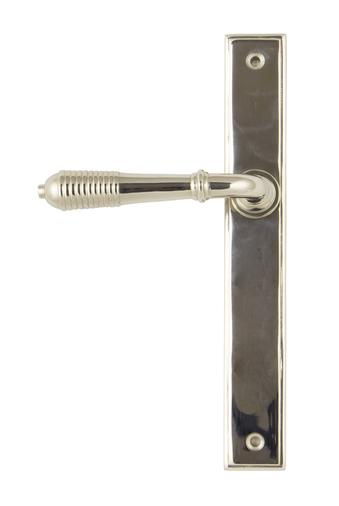 Polished Nickel Reeded Slimline Lever Latch Set Image 1