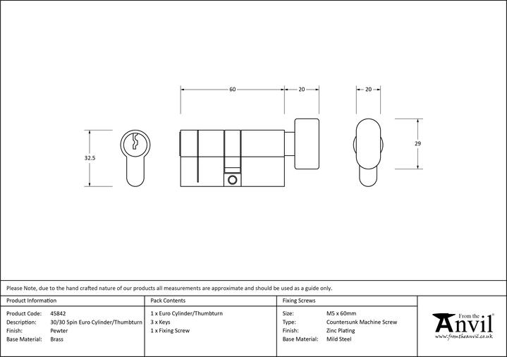 Pewter 30/30 5pin Euro Cylinder/Thumbturn Image 2
