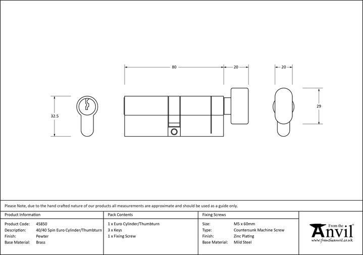 Pewter 40/40 5pin Euro Cylinder/Thumbturn Image 2
