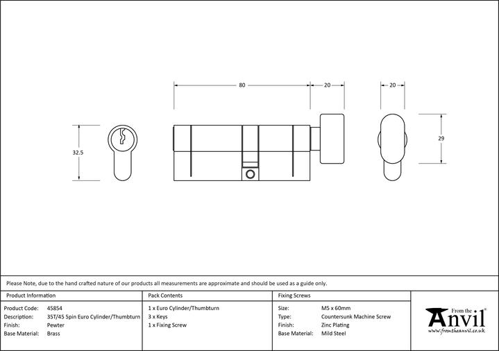 Pewter 35T/45 5pin Euro Cylinder/Thumbturn Image 2