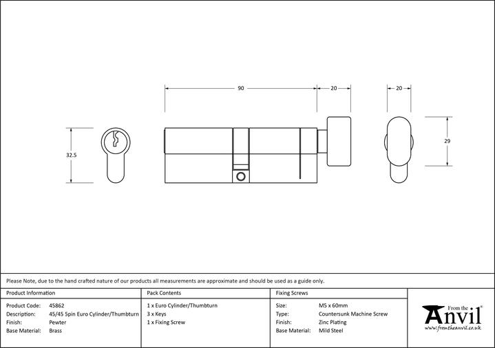 Pewter 45/45 5pin Euro Cylinder/Thumbturn Image 2