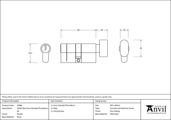 Pewter 30/30 5pin Euro Cylinder/Thumbturn KA Image 2