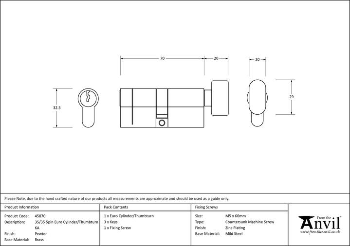 Pewter 35/35 5pin Euro Cylinder/Thumbturn KA Image 2