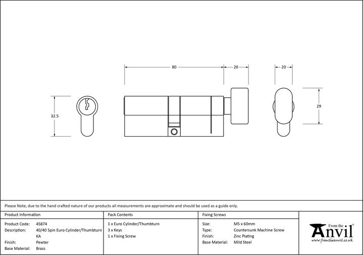 Pewter 40/40 5pin Euro Cylinder/Thumbturn KA Image 2