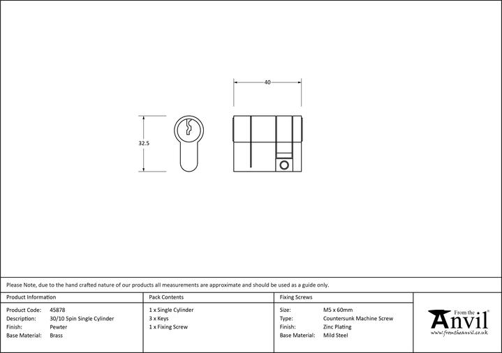 Pewter 30/10 5pin Single Cylinder Image 2