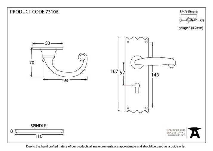 Black Cottage Lever Lock Set Image 2