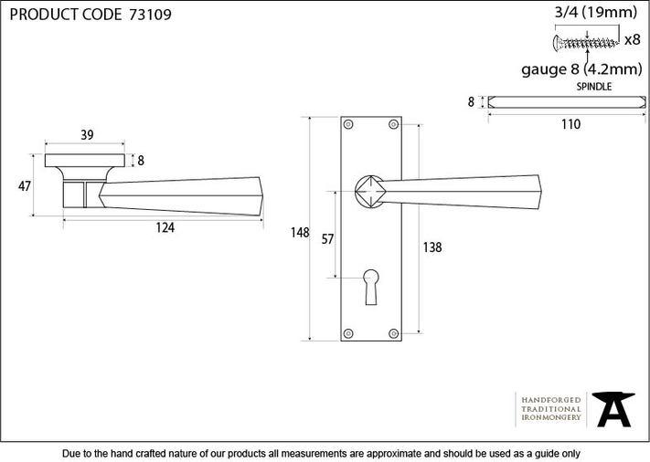 Black Straight Lever Lock Set Image 2